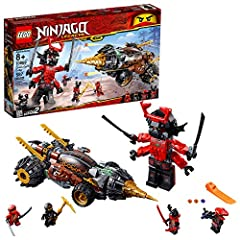 Battle the Giant Stone Warrior with LEGO NINJAGO Legacy 70669 Cole's Earth Driller and reclaim the stolen Scythe of Quakes. The buildable ninja vehicle features an opening cockpit for 2 minifigures, automatic rotating drill and wheels functio...