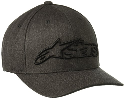 Alpinestars Men's Curved Bill Structured Crown Flex Back 3D Embroidered Logo Flexfit Hat, Blaze Dark Heather Gray/Black, L/XL Star Flex Fit Cap