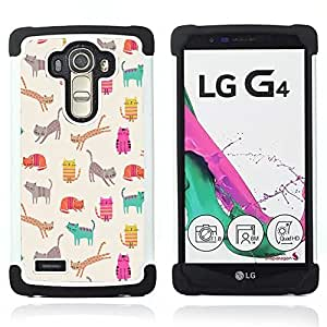 For LG G4 H815 H810 F500L - pattern teal kitten drawing beige Dual Layer caso de Shell HUELGA Impacto pata de cabra con im??genes gr??ficas Steam - Funny Shop -