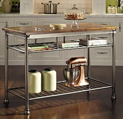 Ku0026A Company Classic French Style Hardwood Butcher Block Top Table Utility Kitchen  Cart Metal Storage Rolling