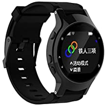 For Garmin Forerunner 225, Kingfansion Silicone Replacement Wrist Watch Band + Case Cover (Black)