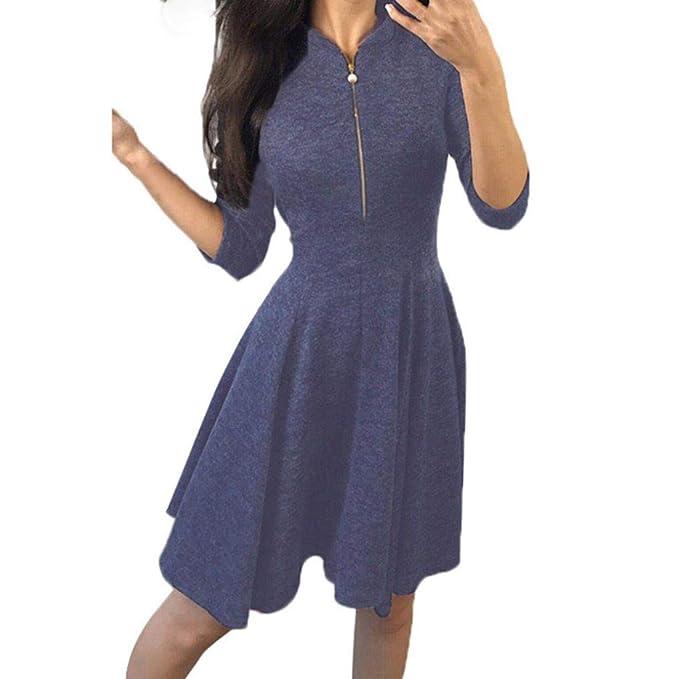 6799749ac4dc8 Hffan Damen Eng Sexy A-Linie Kleid mit Reißverschluss Langarm 3/4 Arm  Rundhals