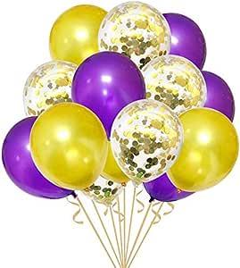 Amazon.com: 30 globos de confeti morados y dorados para ...