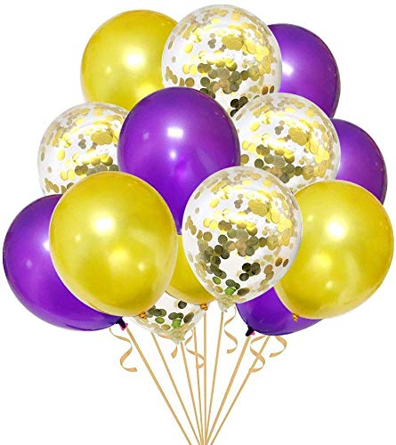Purple And Gold Party Decorations (30PCS Purple and Gold Confetti Balloons Party Decorations for Birthday Retirement Birdal Shower Congrats Graduation Supplies Wedding Anniversary)