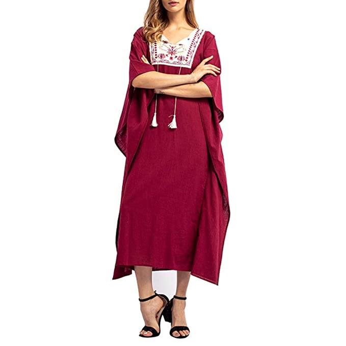 cbfcd2a6287 Women Robe Embroidery Tassel V-Neck Long Sleeves Cotton Maxi Dresses by  Gergeos