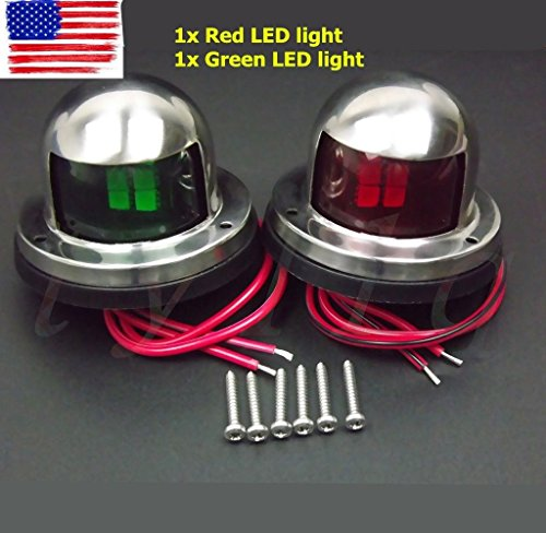 One Pair Marine Boat Yacht Pontoon 12V Stainless Steel LED Bow Navigation Lights by noooshi