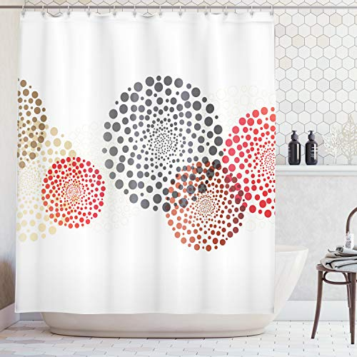 Ambesonne Abstract Decor Shower Curtain, Modern Cool Decoration with Dots Like and Circled Design Artwork, Fabric Bathroom Decor Set with Hooks, 70 Inches, Red Grey