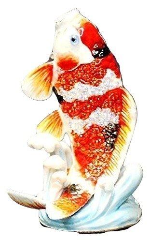 高級ラインストーン「鯉の滝昇り」 [風水 開運グッズ 風水グッズ 風水アイテム/龍/置物/インテリア/コイ/こい/鯉の置物 飾り物/開運] B012VD9FG8