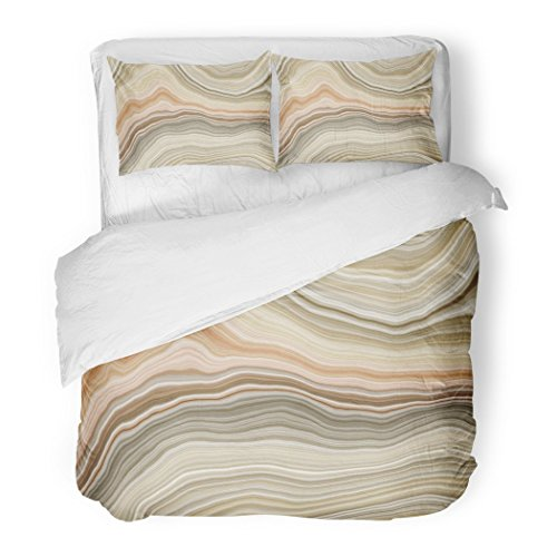 SanChic Duvet Cover Set Beige Stone Wide Onyx Slice Brown Agate Quartz Marble White Arabic Decorative Bedding Set with 2 Pillow Shams Full/Queen Size