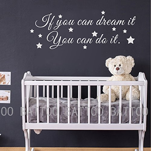 BATTOO Inspirational Wall Quote Decal - If You Can Dream It, You Can Do It - Children Vinyl Decal Kids Stickers for Kids Room Baby Room Baby Crib Nursery(White, 12.5