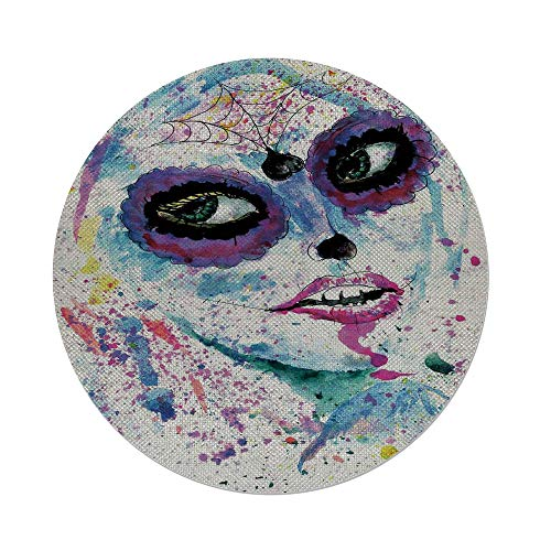 iPrint Cotton Linen Round Tablecloth,Girls,Grunge Halloween Lady with Sugar Skull Make Up Creepy Dead Face Gothic Woman Artsy,Blue Purple,Dining Room Kitchen Table Cloth Cover ()
