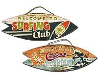 2er Set Holz Schild Beach Wandbild Surfbrett Bild Vintage + Karten