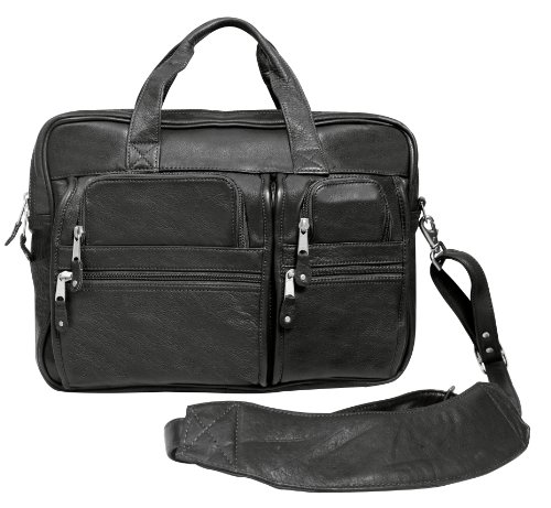 Canyon Outback Blackwater Canyon 15.6-inch Leather Computer Briefcase, Black