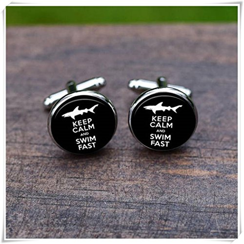 Swimmer Cufflinks Swimming Cuff links Sharp Swim Lover Keep calm and swim fast