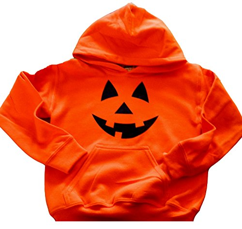 Custom Kingdom Boys/Girls Pumpkin Face Halloween Hoodie Sweatshirt (14/16 Large, Orange)