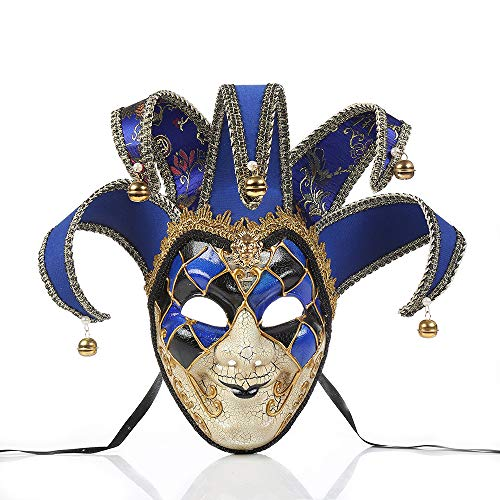 BLEVET Vintage Unisex Venetian Harlequin Eye mask Party Halloween Costume Mardi Gras Mask BK005 (Blue) -