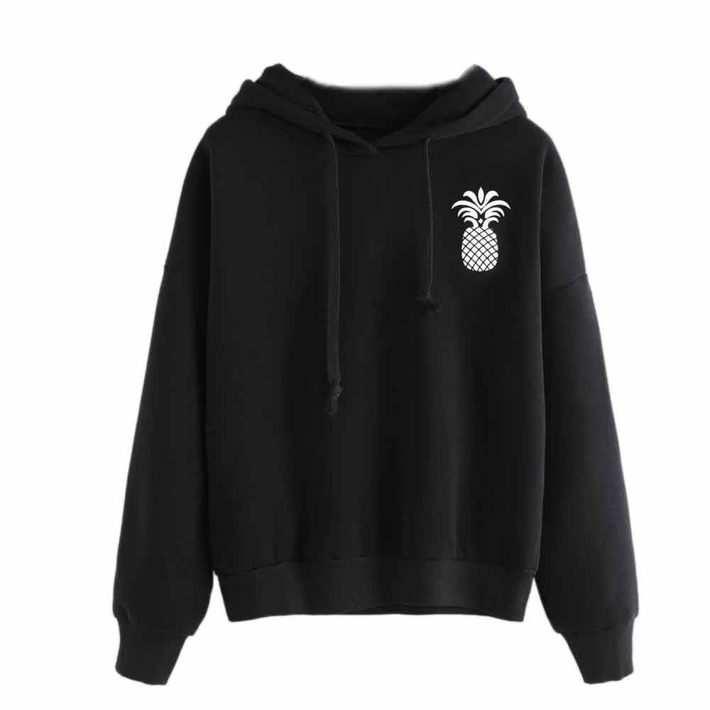 Drawstring Hoodies-Han Shi Women Fashion Pineapple Print Tops Pullover Sweatshirt (Black, XXL)