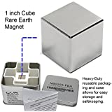 """CMS Magnetics Super Strong 1"""" Neodymium Cube Magnet – Storage Box Included for Added Safety"""