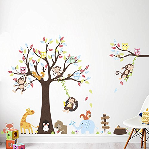 LiveGallery Cartoon Animals Wall Decals Removable Tree Wall Stickers DIY Owls Wall Art Cute Monkey Elephant Giraffe Wall Decal for Kids Boys Children Bedroom Playroom Nursery Rooms Decoration 39