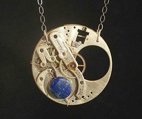 Steampunk Necklace - Blue Lapis and Pocket Watch