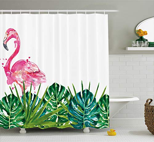Ambesonne Tropical Shower Curtain, Exotic Nature Botanical Artwork with Leaves and Flamingo Watercolors Artwork, Cloth Fabric Bathroom Decor Set with Hooks, 70