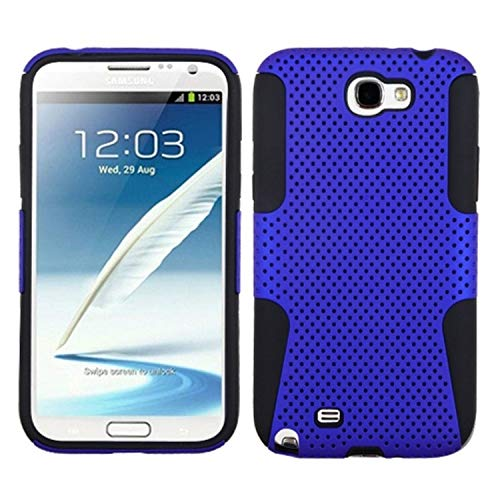 Premium Hybrid Case with Durable Hard Plastic Faceplate for Samsung Galaxy Note 2 - Blue