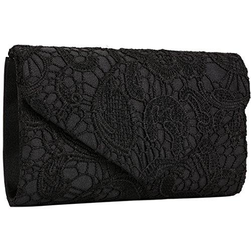 Floral Purse Evening (Jubileens Women's Elegant Floral Lace Envelope Clutch Evening Prom Handbag Purse (Black))