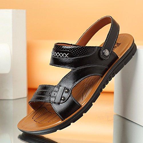 Männer Schuh Breathable echtes Leder Strand Schuh Jugend Sandalen Rindsleder Dual Use Flip Flop Männer Casual Schuhe, schwarz, UK = 9, EU = 43 1/3