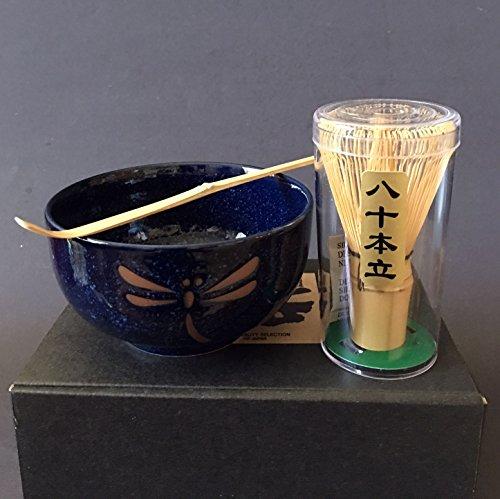Japanese Namako Dragonfly Matcha Bowl Bamboo Scoop 80 Whisk Tea Ceremony Set by Yokohama Gifts