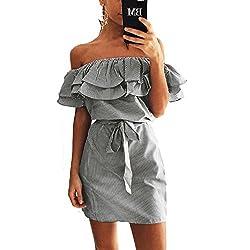 Lovely Shop Sexy Slash Neck Party Dresses Ruffles Beach Dress Boho Women Striped Sundress Plus Size Black Xl