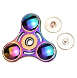 DIKE Spinner Fidget Toys Hand Rotor High Speed stainless steel Bearings 3-8 Minutes Rotation No noise No jitter Quiet-EDC Focus Toy for ADHD Anxiety Kill Time Adult Children(Rainbow Color)