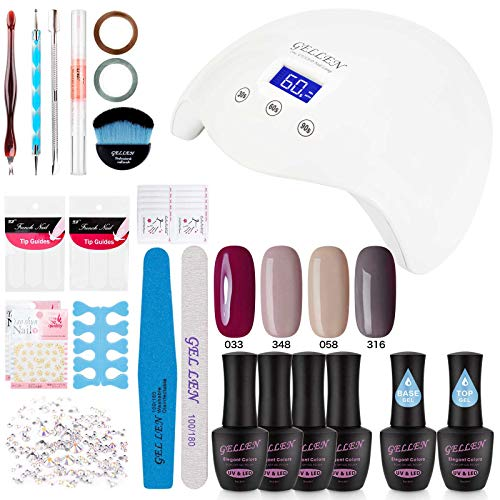 Gellen Gel Polish Kit with UV Light - Elegance 4 Colors Stylish Nail Gel Starter Kit, Home Manicure Tool Rhinestone Nail Art Decorations (Best At Home Gel Polish)