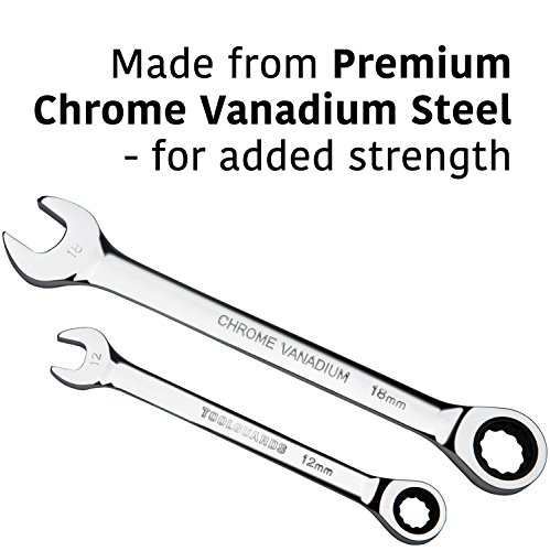 {22 Pieces + Bag} Ratcheting Wrench Set Ratchet Wrenches - Chrome Vanadium Steel With Tool Roll - SAE & Metric Combination Ended Standard Kit - Open End MM & Inch Gear With Large Size Organizer Pouch by ToolGuards (Image #4)