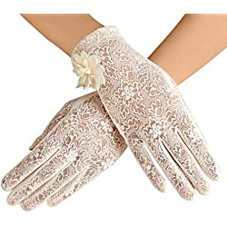 Women's Summer Screentouch Gloves Lace Anti-skid Outdoor Driving Gloves, Beige