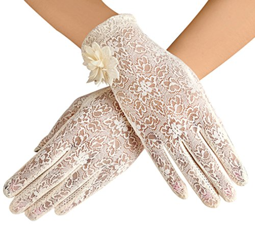 (Women's Summer Screentouch Gloves Lace Anti-skid Outdoor Driving Gloves,)
