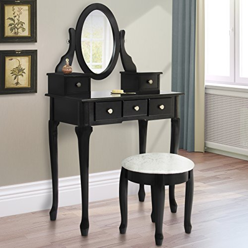 Best Choice Products Bathroom Vanity Table Set Makeup Desk Hair Dressing Organizer Black by Best Choice Products
