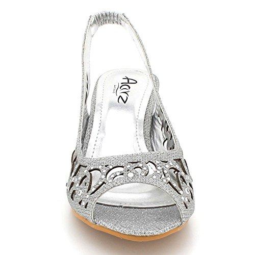 Chaussures Fête mariée Taille de Femmes des Moyen De Cristal Mariage Sandales Dames Diamante Soir Talon Bal Argent Brillant Slingback YSaqxH