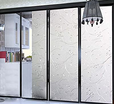 Bloss Non-Adhesive Frosted Decorative Cling Glass Film,Vinyl Etched Flowers Window Film for Home and Office Privacy(17.7-by-78.7 Inch)