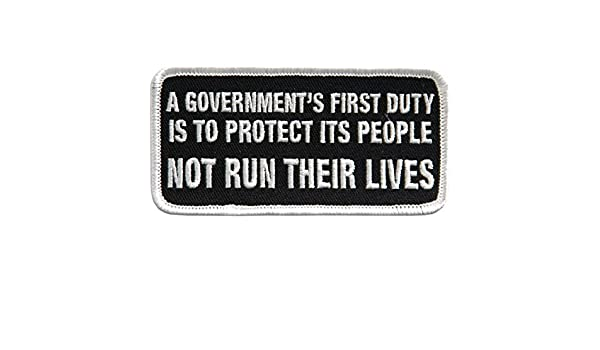Government/'S First Duty To Protect Quote Motorcycle Uniform Patch Biker