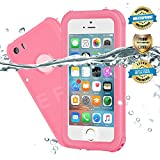 EFFUN Waterproof iPhone 5/5S/SE Case, IP68 Certified Waterproof Underwater Cover Dustproof Snowproof Shockproof Case with Cell Phone Holder, PH Test Paper, Stylus Pen and Floating Strap Pink