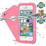 EFFUN Waterproof iPhone 5/5S/SE Case, IP68 Certified Waterproof Underwater Cover Dustproof Snowproof Shockproof Case with Cell Phone Holder, PH Test Paper, Stylus Pen and Floating Strap Pink