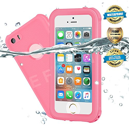 Waterproof iPhone 5/5S/SE Case, EFFUN IP68 Certified Waterproof Underwater Cover Dustproof Snowproof Shockproof Case with Cell Phone Holder, PH Test Paper, Stylus Pen and Floating Strap Pink