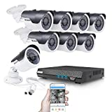 TECBOX K02C6H Security Camera 8 Channel 720P Ahd Home Cctv System Dvr Recorder with 8 Hd 1.3Mp Waterproof Indoor/Outdoor Video Surveillance Camera System