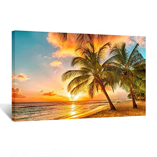 Kreative Arts Canvas Print for Home Decoration - Sunset Seascape Coco Beach Modern Painting Wall Art Picture Print on Canvas Framed and Ready to Hang 20''x30''