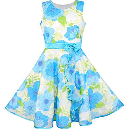 Sunny Fashion LN92 Girls Dress Blue Flower Bow Tie Tulle Party Princess Size - Sunnies Fashion