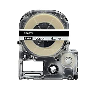 "Hartwii White on Clear Cassette Compatible for Epson Label Tape LC-2TWN 6mm 8m (1/4 x 26"")"