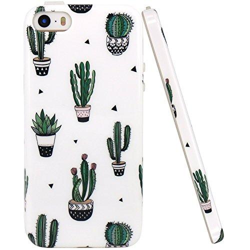 iPhone 5 Hülle, JIAXIUFEN Green Coctus Serie Flexible TPU Silikon Schutz Handy Hülle Handytasche HandyHülle Etui Schale Case Cover Tasche Schutzhülle für iPhone 5 5S SE