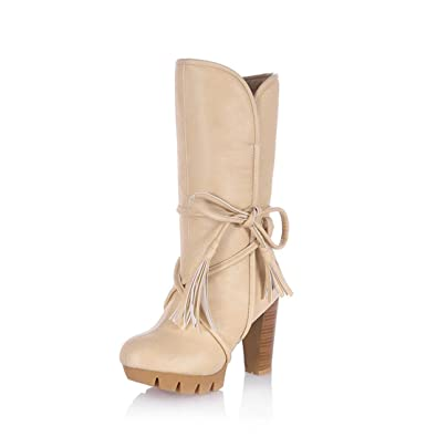 Women's Chunky High Heel Snow Boots Mid Calf Soft Leather Antiskid Tassel Strappy Platform Riding Boots