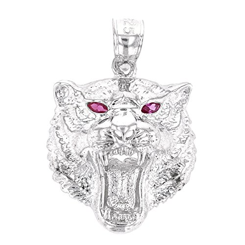 (Animal Kingdom Fine Sterling Silver Roaring Red CZ Eyed Bengal Tiger Pendant)