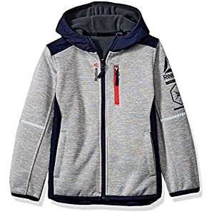 Reebok Little Boys' Active Outerwear Jacket (More Styles Available), Armor Fleece Heather Grey/Navy, 5/6